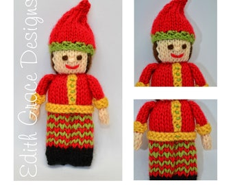 Christmas Elf - Doll Knitting Pattern - Toy Knitting Pattern - Christmas Doll - Christmas Knitting - Knit Doll - Doll Pattern