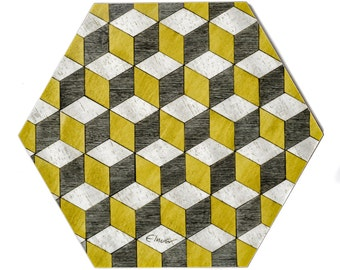 6 Yellow grey Placemats Hexagonal Quality Melamine Heat Resistant 140 Retro Place mats Geometric tablemat Anniversary gift Mothers Day Gift