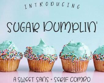 Sugar Dumplin' Font - Sans Serif Font - Serif Font - Hand-written font - Hand-lettered font - Commercial Use Font - Personal Use Font
