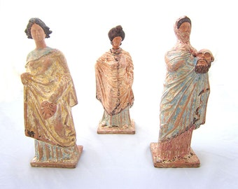 OnE of Three Tanagras Female Statues , Greek museum copy