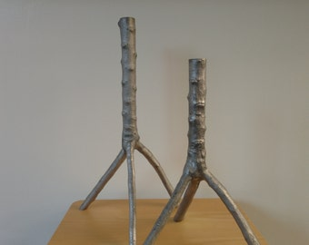 Vintage Aluminum Tree Branch Candle Holders