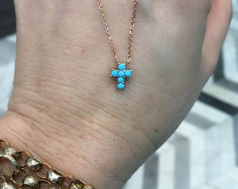 14k gold and turquoise cross necklace, 14k, rose gold, turquoise, cross, cross necklace, religious jewelry , religious necklace