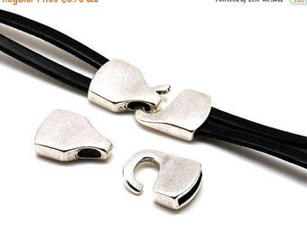 On Sale NOW 25%OFF Hook Clasp For 15x3mm Flat Leather Cord - Antique Silver - C2031 - Qty 1