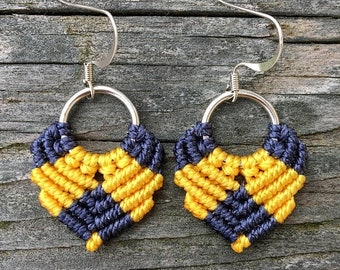 SALE Micro-Macrame Dangle Earrings - Navy and Golden Yellow