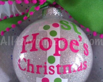 Baby's First Christmas Ornament Glass Glitter Ball with Ribbon Bow Personalized Dated 2017