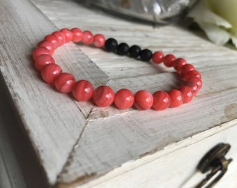 Essential oil diffuser bracelet, aromatherapy, coral