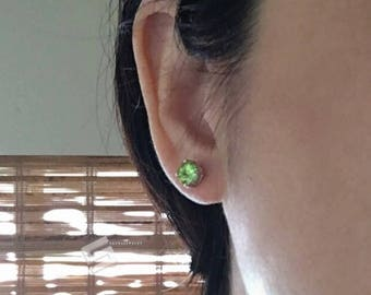 Peridot & Sterling Silver Stud Earrings, Untreated Green Peridot And Silver Studs, Peridot Earrings, August Birthstone In Silver Jewelry