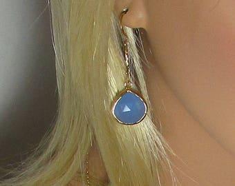 Chalcedony Earrings, Blue Chalcedony, Drop Earrings, Double Sided, Long Drops, Teardrop Beads, Faceted Stone, Gold or Silver,