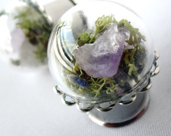 """Pair of Real Amethyst, Lavender and Moss Silver Plugs - Terrarium Gauges - 6g, 4g, 2g, 0g, 00g, 7/16"""", 1/2"""", 9/16"""", 5/8"""", 3/4"""", 7/8"""", 1"""""""