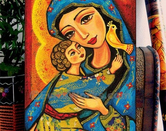 Mary and Jesus Folk Art Icon Religious Painting Mothers Love Mothers Day Mother and Child Wall Decor, Home Decor, woman art, woodblock, CG