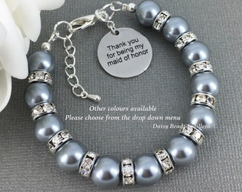 Thank you for being my Maid of Honor Gift Pearl Jewelry Pearl Bracelet Maid of Honor Bracelet Gift from Bride Gift for Her Bridal Party Gift