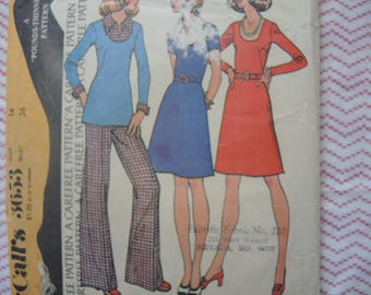 vintage 1970s McCalls sewing pattern 3653 misses dress or top and pants  size 14