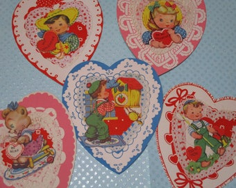 Vintage Childrens Valentine Day Cards Lot-Ephemera-Mixed Media-Paper-Crafts-Scrap Booking