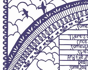 WENIGER als den halben Preis limitierte Auflage drucken, irgendwo über dem Regenbogen unterzeichnet A3 Print von einem ursprünglichen Papier Schneiden von Loula Belle zu Hause