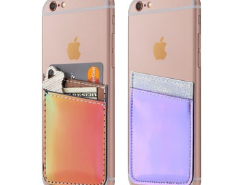 Two Iridescent Cell Phone Stick On Wallet Card Holder Phone Pocket For iPhone, Android and all smartphones