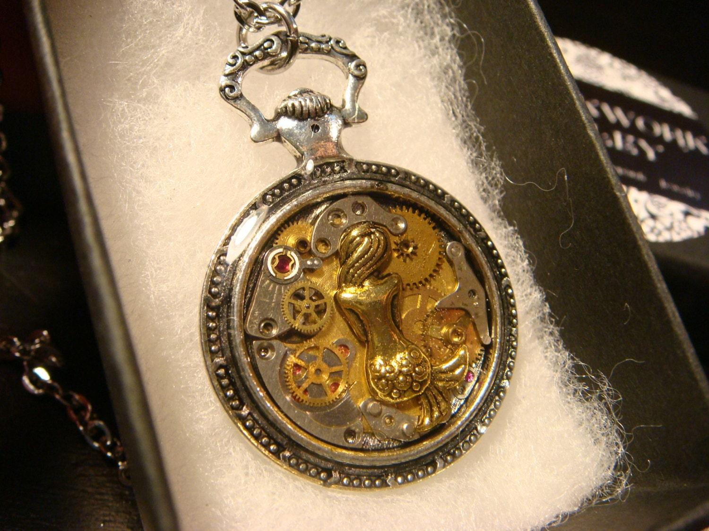 Clockwork mermaid steampunk pocket watch pendant necklace ampliar aloadofball Image collections