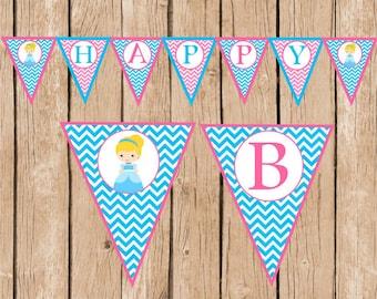 Cinderella Happy Birthday Pennant Banner