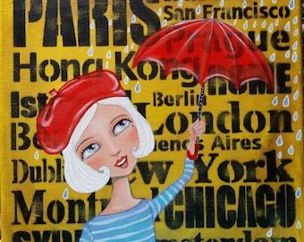 Original Painting Acrylic 12 x 12 Travel Girl Oddimagination - Denise Baldwin