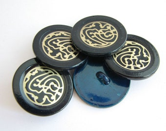 Blue metal buttons with golden decoration, 23 mm or 18 mm, unused sewing shank buttons!