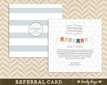 Photographer Referral Card Referral Program Photography INSTANT DOWNLOAD
