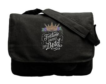 Bold Thoughts - Fortune Favors the Bold Embroidered Canvas Messenger Bag, Crown Messenger Bag