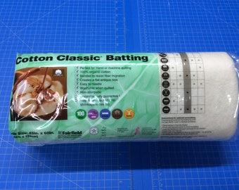"100% Organic Cotton Batting// Crib Size// 45""x60""//Fairfield Cotton Classic Batting"