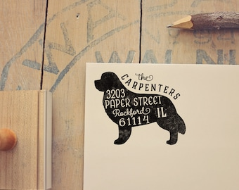 Newfoundland Return Address Stamp, Housewarming & Dog Lover Gift, Personalized Rubber Stamp, Wood Handle
