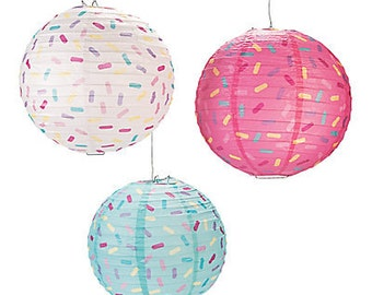 Sprinkle  Party Lanterns/ Party Hanging decorations/ sprinkles/ Colorful party/Girl Party/ donut party lanterns/ donut party