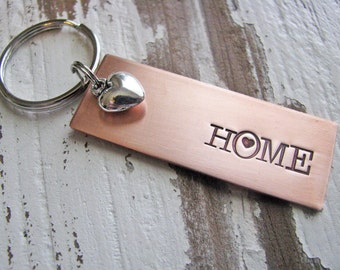 home is where the heart is copper key chain