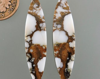 Wild Horse Cabochons, Wild Horse Cabs, White and Brown Earring Cabs, Designer Wild Horse, Gift Cabs, C3101, Hand Cut by 49erMinerals