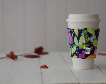 Reversible Coffee Sleeve | Coffee Cup Cozy, Tea Cuff, Tropical