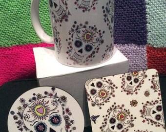 sugar skull mug, day of the dead mug, mexican sugar skull,skull mug