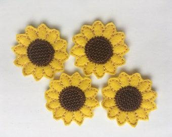 Sunflower Felties Set of 4 - Summer Feltie - Flower Feltie