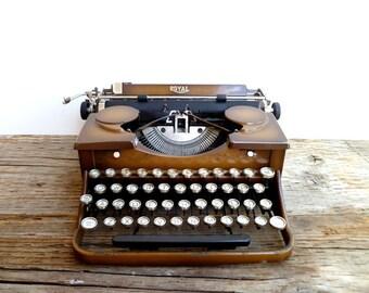 Typewriter- 1930s Royal Typewriter- Duo Tone Brown- Glass Keys