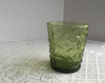 Vintage Drinking Glass By  Anchor Hocking /  Lido Pattern Green Glass Juice Tumbler