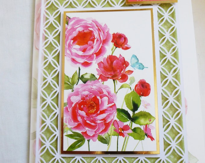Floral Filigree Birthday Card, Greeting Card, Decoupage Card,Pink and Red Roses, Female, Any Age, Mother, Daughter, Sister, Niece
