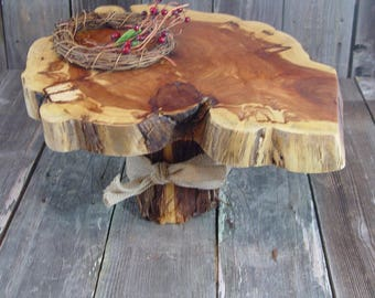 "Tree Slice Rustic Cake Stand, Tree slice + Stump, Texas Cedar, 17""x15""x1.75"" height 8.5"", Texas rustic woodsy wedding, party, event, dessert"