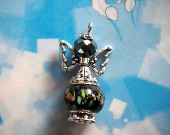 Angel 33x19mm, silver and black hand made lampwork glass and metal charm pendant