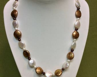 "18"" Sterling Silver Gold Plated Necklace with 12-13mm White/Dyed Brown Freshwater Cultured Pearls"