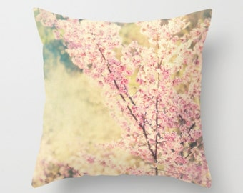 pillow cover, nursery decor, cherry blossom tree pillow case, girls room throw pillow, spring home, pink mint green 18x18