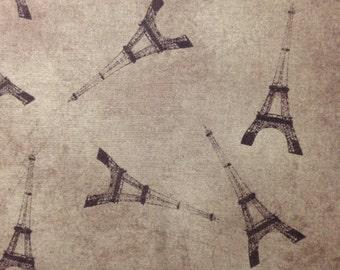 Paris Tower on Brown Background, Ooh La-La by Jo Moulton for Wilmington Prints, 100% Cotton