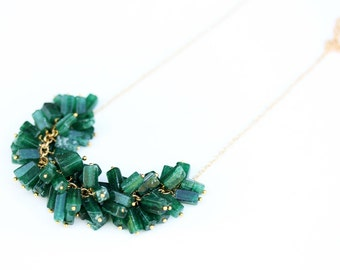 Green Cluster Necklace, Beaded Necklace, Glass Necklace, Green Necklace, Green Bead Necklace