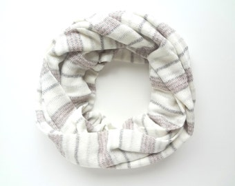 Sparkle scarf, Shiny Scarf, Striped Infinity Scarf, Cream and Pink Scarf, Holiday Scarf, Christmas Scarf