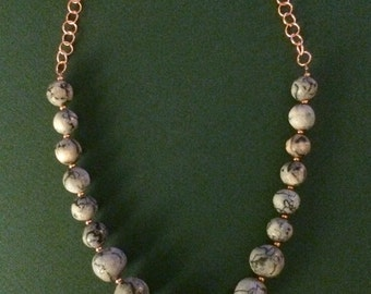 Horse Hair Pottery Bead Necklace w/Hammered Copper Pendant