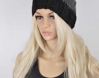 Winter Hat, Beanie Hat, Pom Pom Hat, Pom Pom Beanie, Knit Hat, 3 Color Beanie Hat