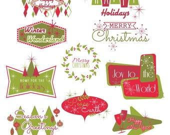 Retro Holiday Clipart, Christmas Clip Art, New Years Clipart, Holiday Clip Art
