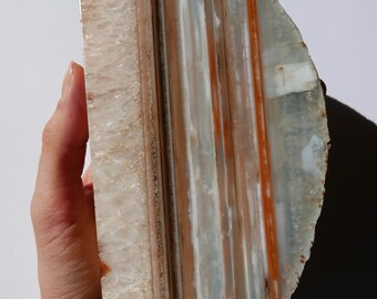 Gorgeous Striped Carnelian and Quartz Polished and Cut Specimen - Grounding, Motivational, Empowering, Sacral & Root Chakra