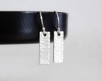 Tiny Silver Bar Earrings, Sterling Silver Tiny Bar Earrings, Hammered or Smooth Small Rectangles