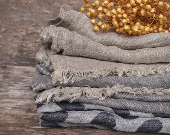 FREE SHIPPING - 3 Linen Scarves, Eco Scarf, Natural Scarf, Grey Scarf