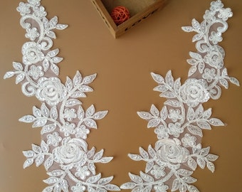 1 Pair Ivory Rose Paillette Lace Applique Collar Altered Clothing Sewing Bridal Headwear Wedding